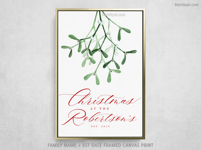 "Custom family name canvas print, ""Christmas at home"" with watercolor mistletoe"