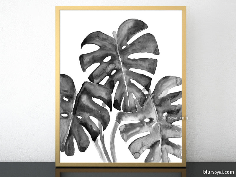Monstera leaves illustration printable art in black and white - Personal use
