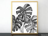 Monstera leaves illustration printable art in black and white