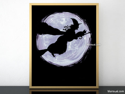 Witch and her cat, printable Halloween decor
