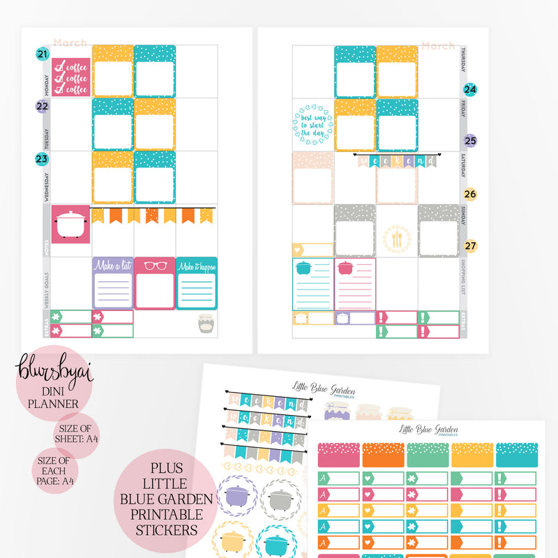 The Dini Planner: minimalistic printable weekly schedule, A4, A5, half letter