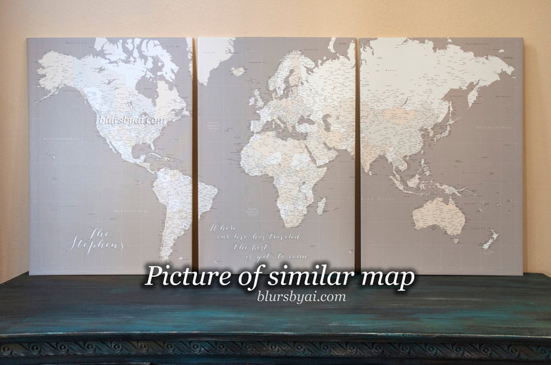Customized set of three canvas prints or push pin maps according to our messages - IF NO BACKING, SHIPS IN 8 BUSINESS DAYS OR SOONER