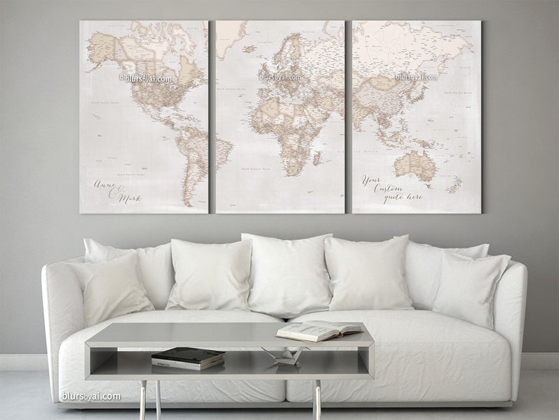 "Large multi panel, highly detailed, rustic world map with cities. ""Lucille"""