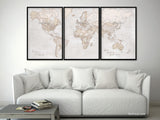 "Personalized - Highly detailed world map print split in 3 panels, rustic world map with cities. ""Lucille"""
