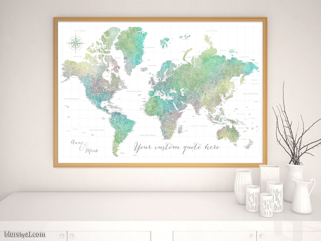 Custom world map print - highly detailed map with cities in muted green, on three-dimensional world map, vintage world map, painting world map, jewelry world map, silver world map, unique world map, sepia world map, artistic world map, illustration world map, colorful world map, flowers world map, creative world map, miniature world map, doodle world map, transparent world map, nature world map, old world map, cute world map, blank world map, abstract world map,