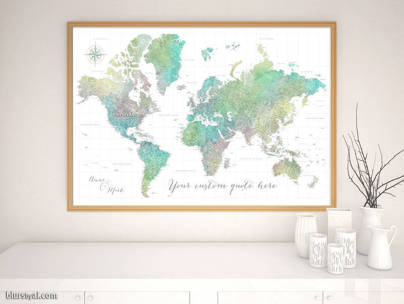 "Custom world map print - highly detailed map with cities in muted green, yellow and grey watercolor. ""Oriole"""
