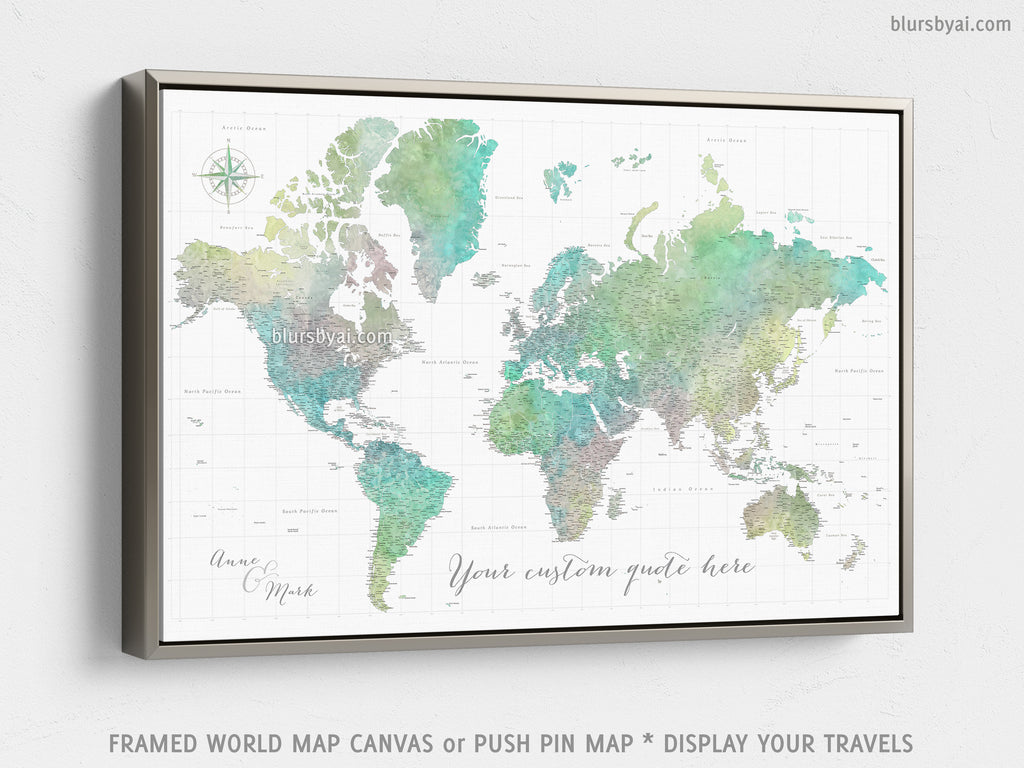 "Custom large & highly detailed world map canvas print or push pin map. ""Oriole"""