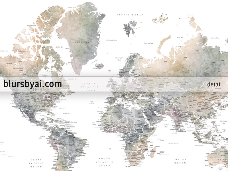 "Personalized world map with US state capitals, cities, states, and countries, canvas print or push pin map in muted watercolor. ""Habiki"""