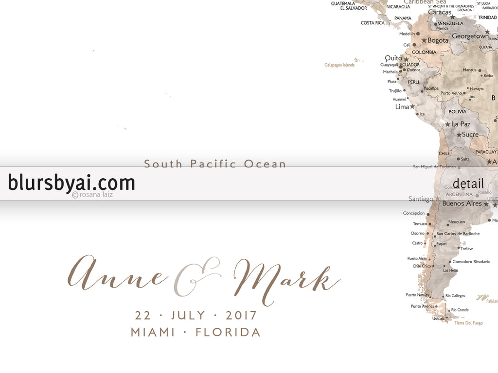 Wedding guestbook map: custom watercolor world map with cities ...