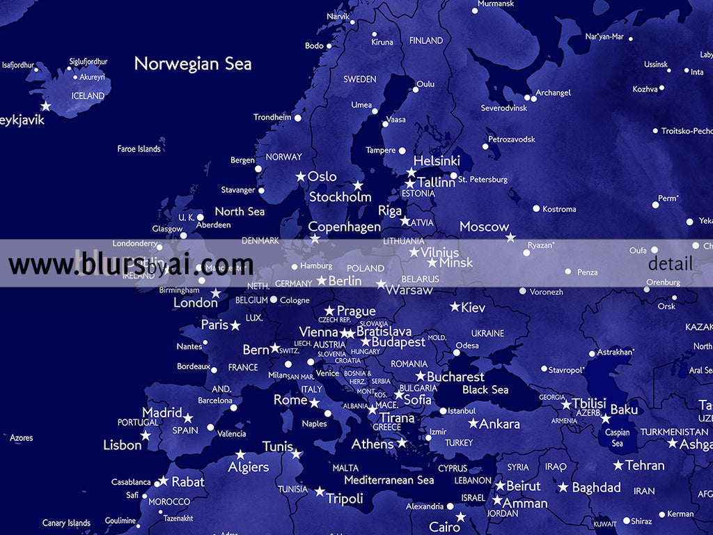 Navy blue printable world map with cities custom quote map custom quote printable world map with cities capitals countries us states publicscrutiny Images