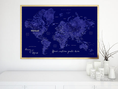 Custom quote printable world map with cities, capitals, countries, US States... labeled. Color combination: Naveed