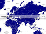 "Personalized world map with cities, canvas print or push pin map in navy blue. ""Nevin"""