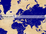 "Custom printable world map with cities, capitals, countries, US States... labeled, in navy blue and tan. ""Korinne"""