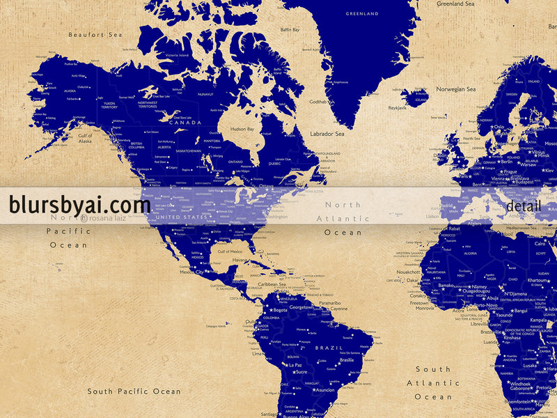 "Custom map print: world map with cities in navy blue and tan. ""Korinne"""