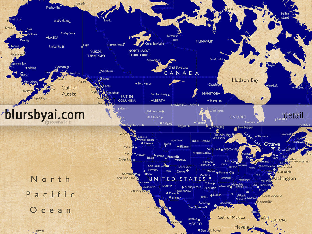 Custom map print: world map with cities in navy blue and tan. \