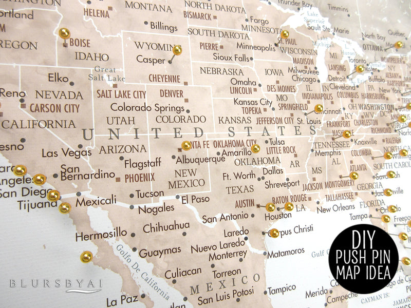 "Personalized PRINTABLE world map with cities, ""Abey"", edit-it-yourself using CORJL - Instant download"