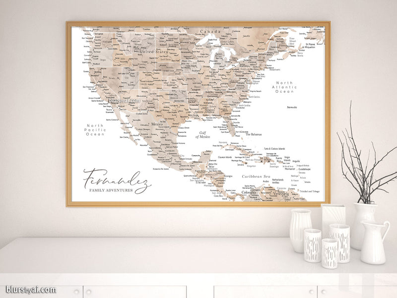 "Custom map print: USA, Mexico and the Caribbean Sea in neutral watercolor. ""Abey"""