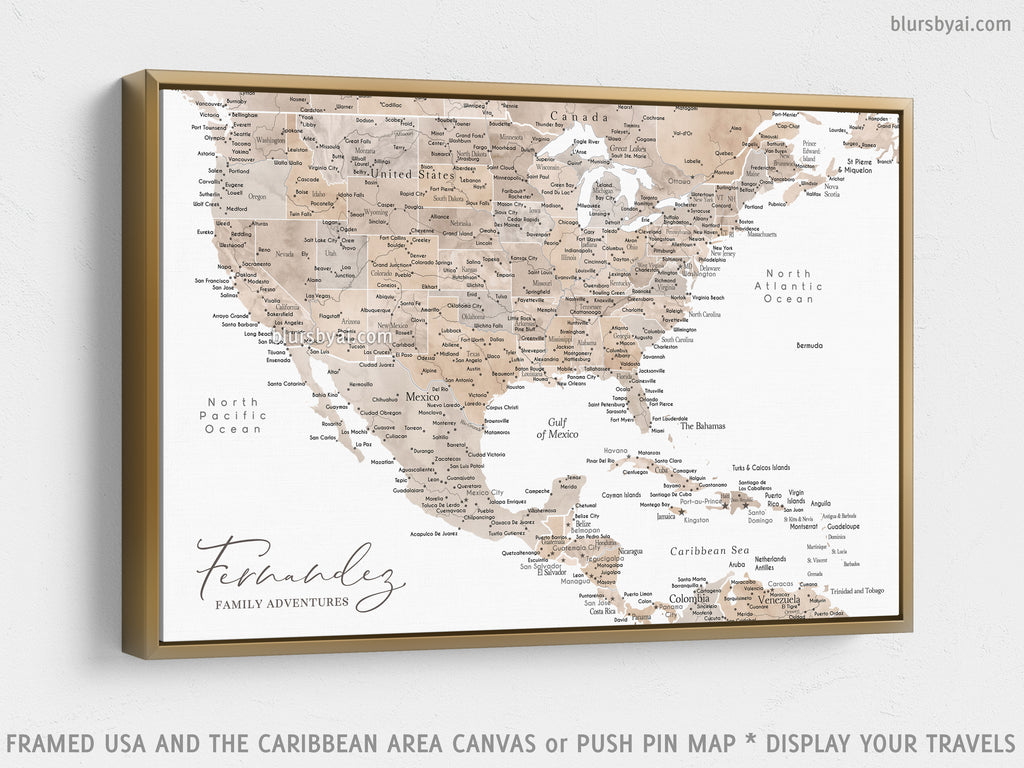 "Custom map of USA, Mexico and the Caribbean area, canvas print or push pin map in watercolor neutrals. ""Abey"""