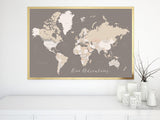Our Adventures, printable world map with countries and states labelled, large 36x24""
