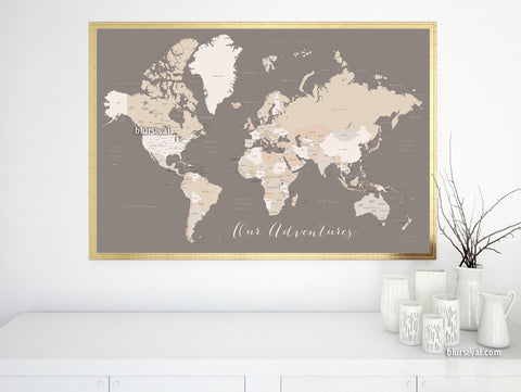 Our Adventures, printable world map with countries and states labelled, large 60x40""