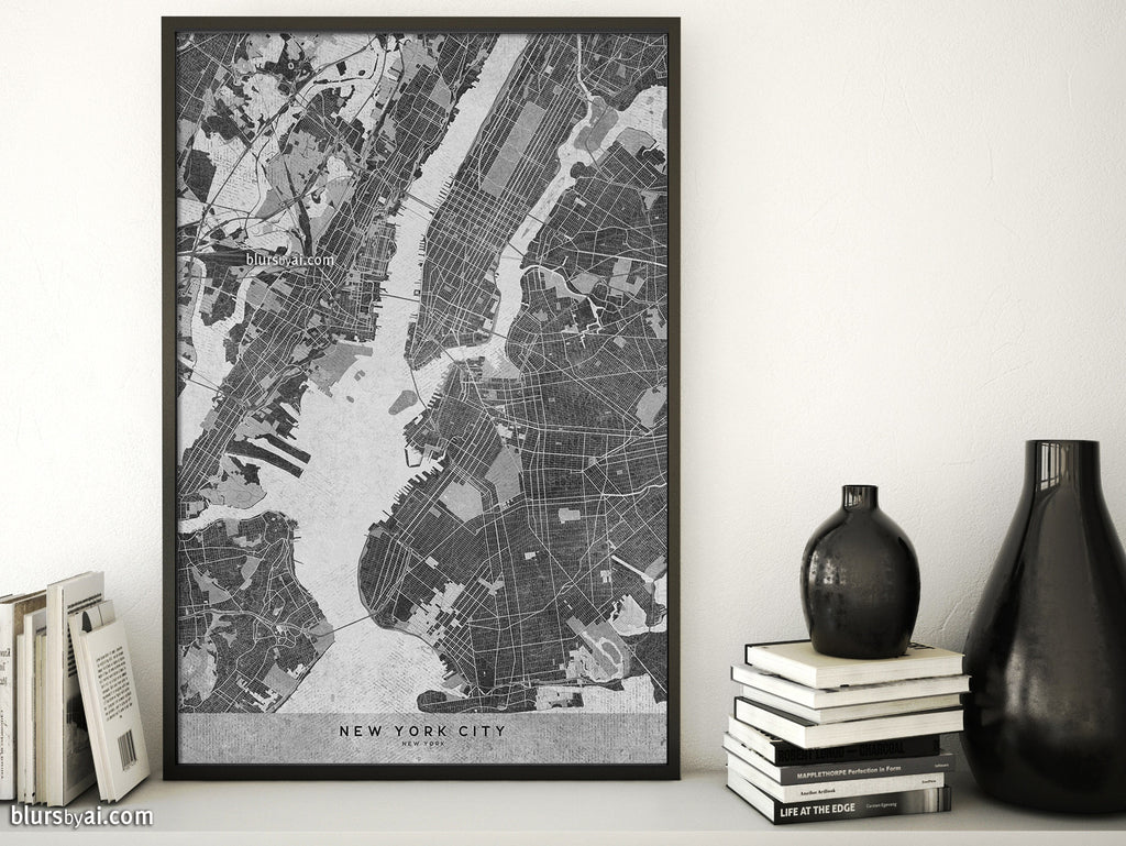 New York Map Black And White.Printable Map Of New York City In Black And White Vintage Style
