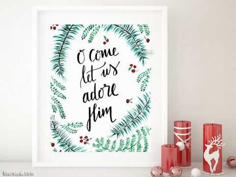 O come let us adore Him, printable Christmas decoration