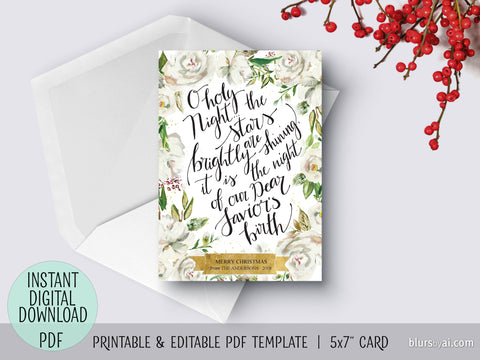 Editable pdf Christmas card template: o holy night in white floral background