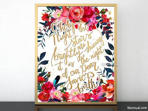 O holy night lyrics printable Christmas decor, in gold and red florals