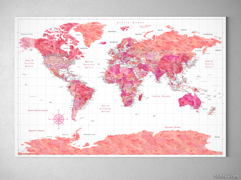 "Orange and pink world map with cities and Antarctica, canvas print or push pin map. ""Tatiana"""