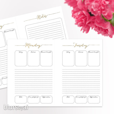 A5 printable organization set: daily planner, to do list, meal planner & shopping list