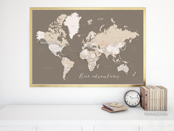 Our Adventures, printable world map with cities labelled, large 60x40""