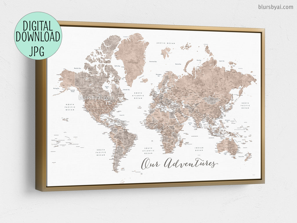 photo relating to Printable List of State Capitals Only known as Our Adventures, PRINTABLE earth map within just impartial watercolor with US region capitals, metropolitan areas, nations around the world