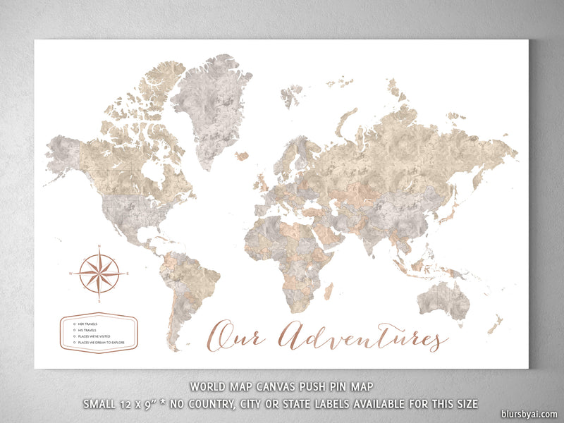 "Our Adventures, small world map push pin for marking your travels, 12x9"", ""Abey"""