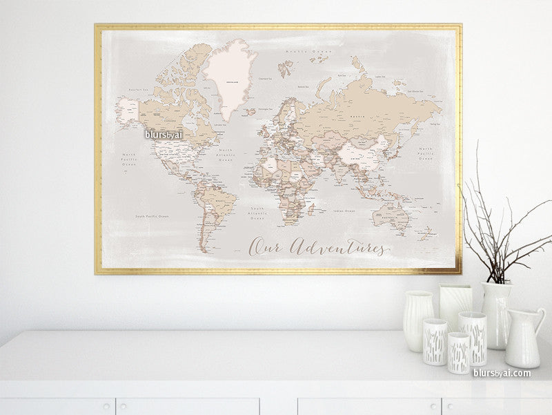 "Our Adventures, printable world map with cities in rustic style, 36x34"" - For personal use only"