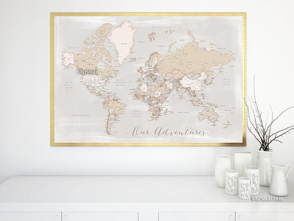 Our Adventures, printable world map with cities in rustic style, 36x34""