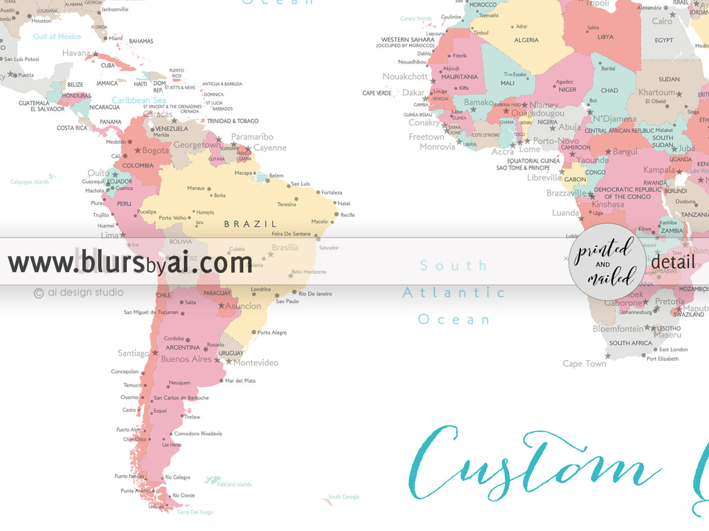 Personalized world map with cities canvas print or push pin map in personalized world map with cities canvas print or push pin map in pastels gumiabroncs Image collections