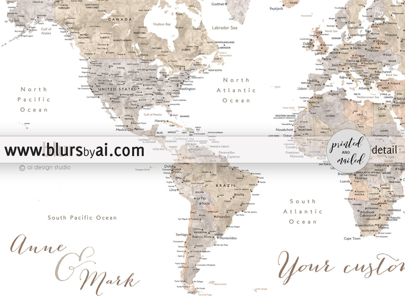 "Custom print: world map with cities in taupe, cream and grey neutral watercolor. ""Abey"""