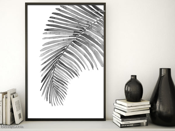 Tropical palm leaf illustration printable art in black and white
