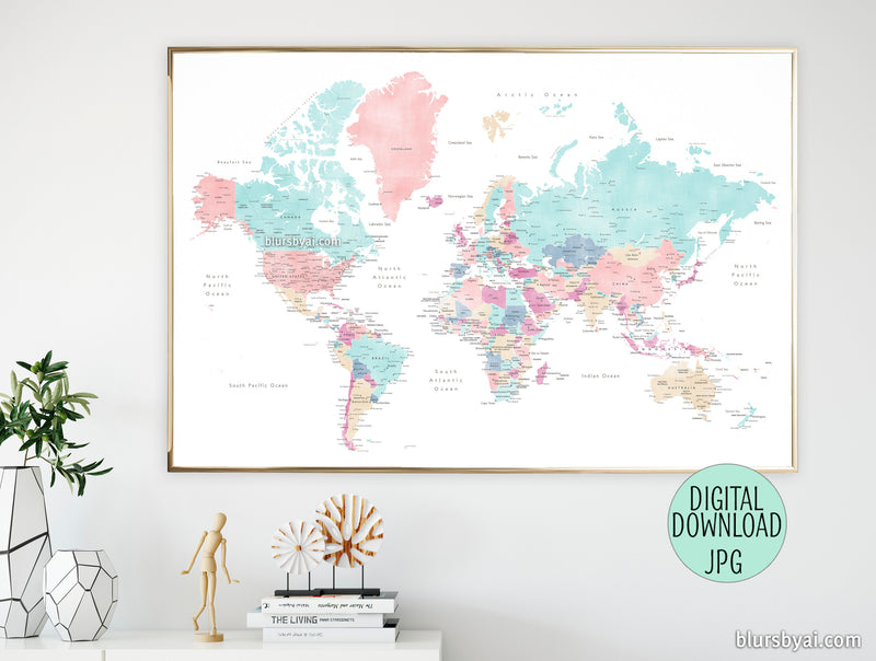 "36x24"", 60x40"" Printable world map with cities in pastels, ""Carmen"" - For personal use only"