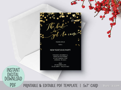Editable pdf New Year's Eve invitation template: the best is yet to come
