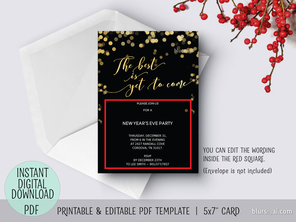 Editable Pdf New Year S Eve Invitation Template The Best Is Yet To