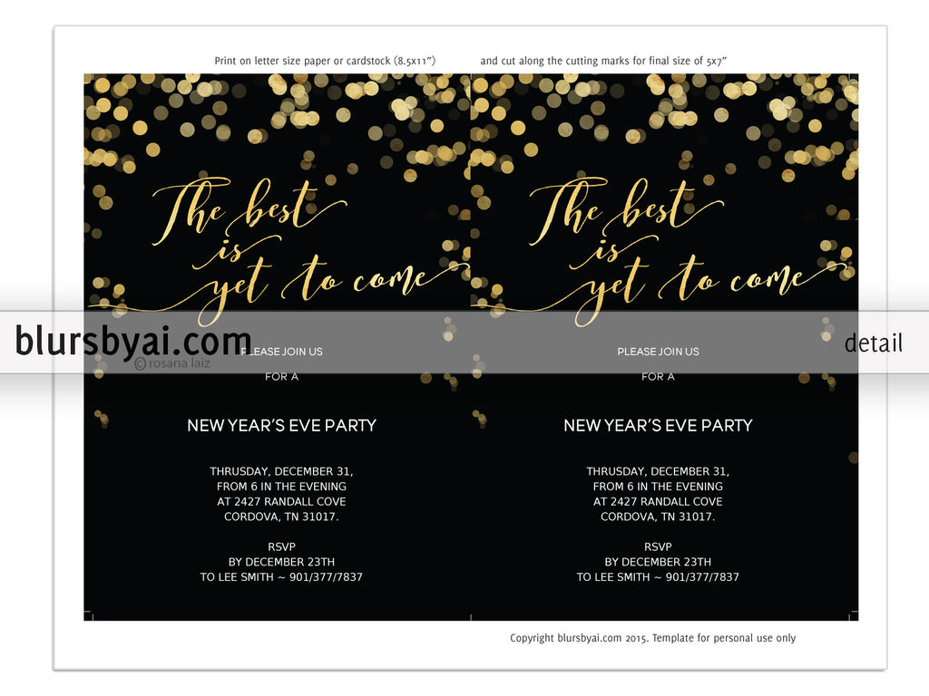 Editable Pdf New Years Eve Invitation Template The Best Is Yet To
