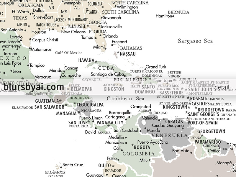 "Personalized PRINTABLE world map with cities, ""Anouk"", edit-it-yourself using CORJL - Instant download"