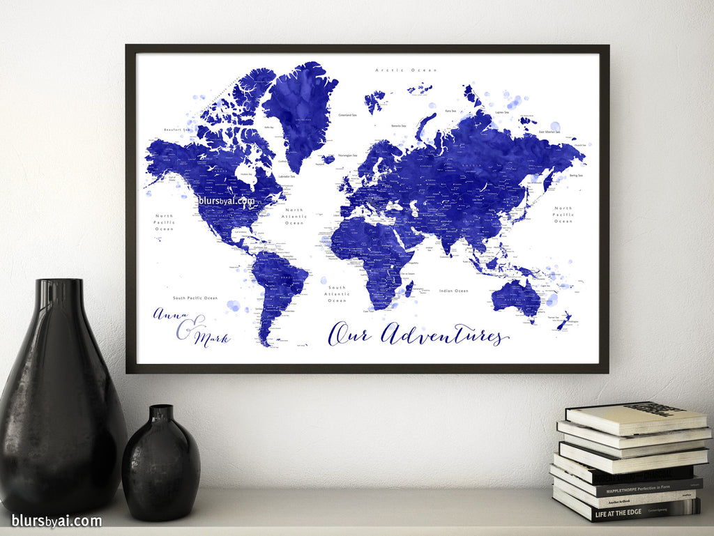 "Custom map print: watercolor navy blue world map with cities, ""Ronnie"""