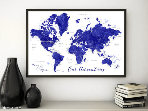 Map Prints World Maps With Main Cities Capitals Countries And