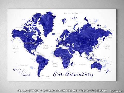 "Personalized world map with cities, canvas print or push pin map in navy blue watercolor. ""Ronnie"""