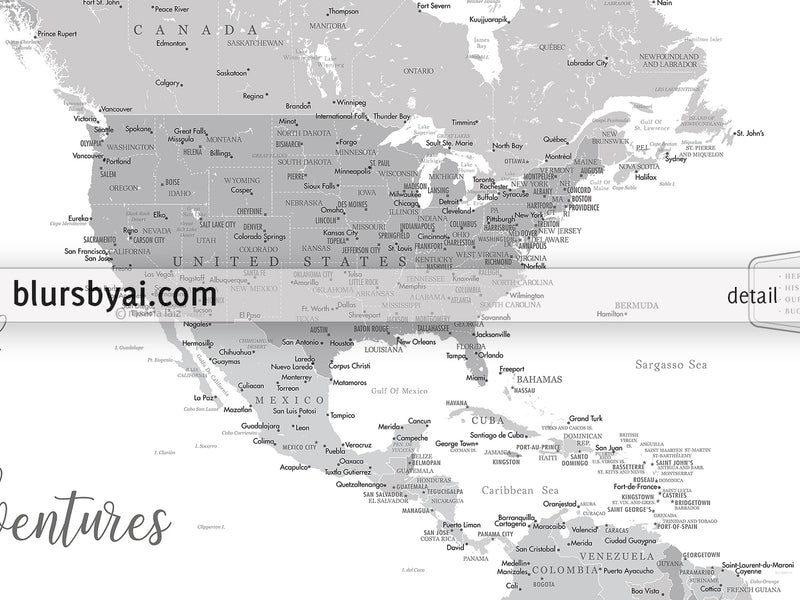 "Personalized PRINTABLE map of North America with cities, ""Lakota"", edit-it-yourself using CORJL - Instant download for PERSONAL USE"