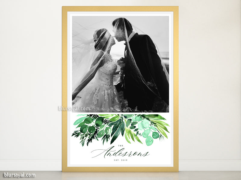 "Custom family name art print with picture and watercolor greenery, ""Inma"""