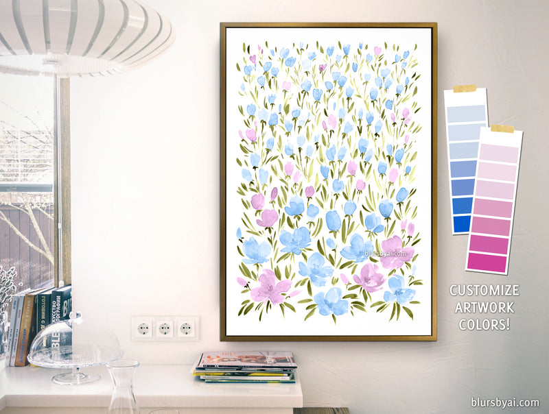 "Custom canvas print - ""Field of watercolor flowers"""