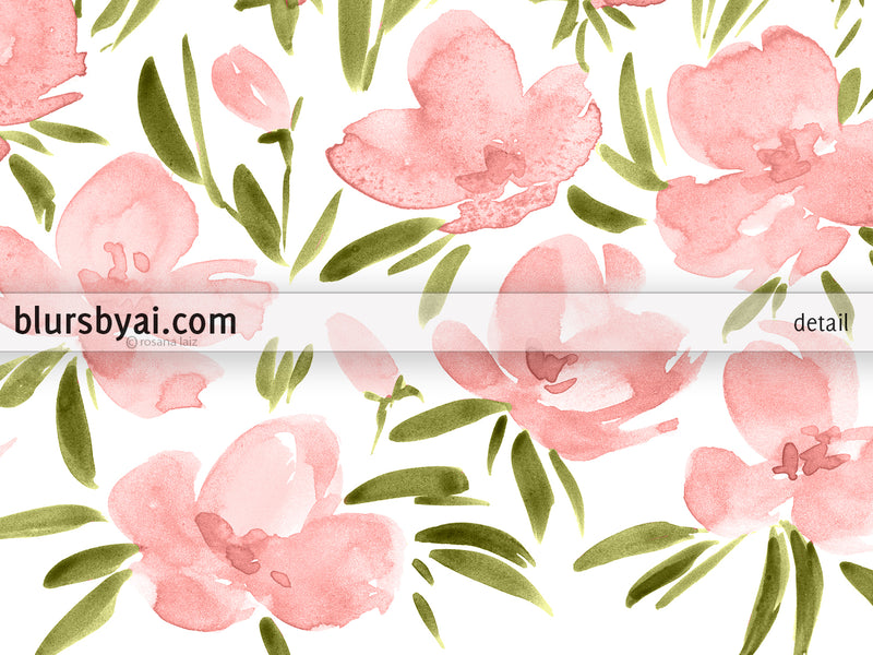 "Printable watercolor illustration: ""Field of pink flowers"" - Personal use"